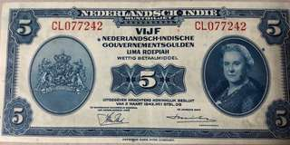 Netherlands indies 5 dollars 1943