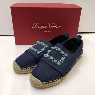 休閑鞋 Roger Vivier denim with crystal and beads shoes loafers size 37