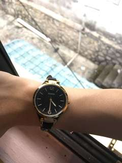 FOSSIL leather strap watch (black)