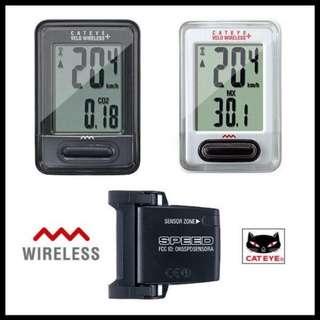 Black/White - Cateye MTB Bike Riding Multifunctional LCD Backlight Velo Wireless Speedometer - WHITE