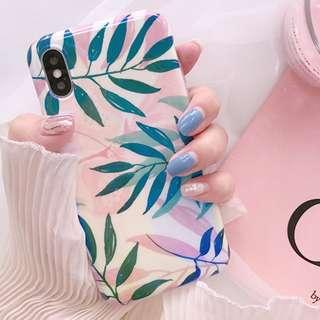 #手機殼IPhone6/7/8/plus/X : 韓風清新葉子藍光全包邊軟殼