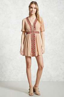 Forever21 Embroidered Panel Mini Dress
