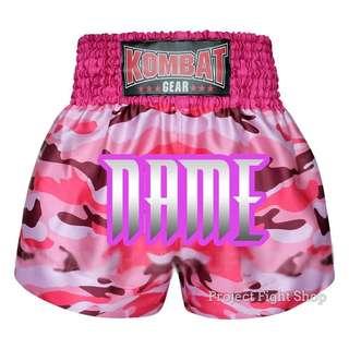 Customize Kombat Gear Muay Thai Boxing MMA Shorts Pink Camouflage