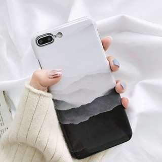 #手機殼IPhone6/7/8/plus/X : 復古黑白藝術上下不包邊硬殼