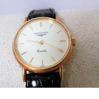 Longines L 7.489.6 K18YG 750 Round Ladies Watch Leather Quartz Ivory Dial (SHIP FROM JAPAN)