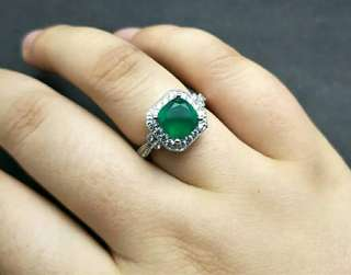 Green Agate 925 Sterling Silver Ring For Ladies