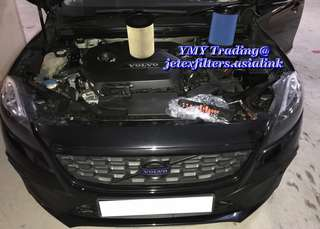 Volvo V40 T4 replaces Jetex high flow performance drop in air filter with 99% filtration at 2.8 microns washable and reusable with 1.14 kpa air restriction test proven ..