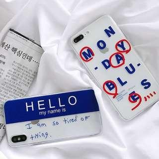 #手機殼IPhone6/7/8/plus/X : 韓風簡約字母全包邊透明軟殼