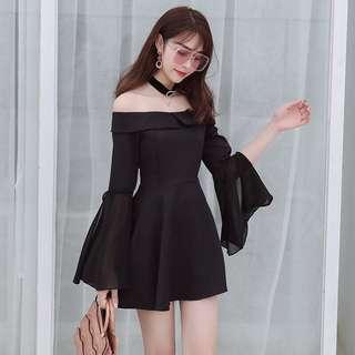 🚚 韓版一字領喇叭袖露肩連身裙洋裝