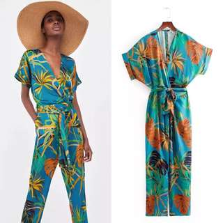 Summer Europe women's fashion tropical print V-neck tie jumpsuit trousers
