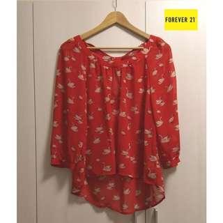 【全新正品】FOREVER21 紅色雪紡天鵝襯衫