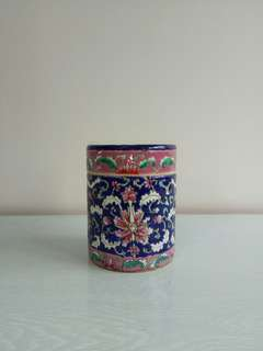 Vintage Indigo Blue Container With Cover Height 14cm Diameter 10cm