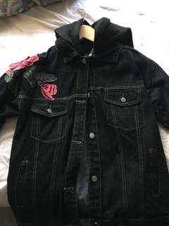 Black Embroidery jean jacket . Size small