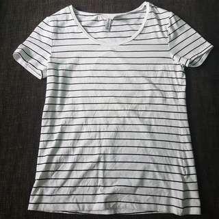 h&m basic white stripes shirt