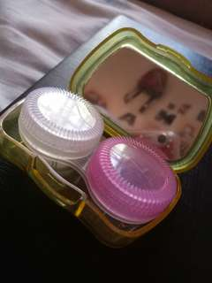 Contact lens kit with case and mirror