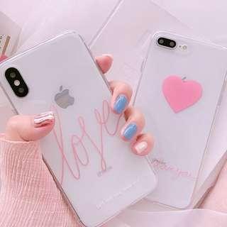 #手機殼IPhone6/7/8/plus/X : 韓風簡約愛心全包邊透明軟殼