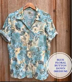 Men's Blue Floral Buttondown