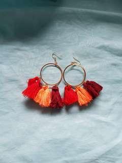 Colourful Hoop Tassel Earrings