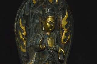 尋古堂•大陸古寺廟收集 古銅鍍金 遼金時期觀音菩薩像