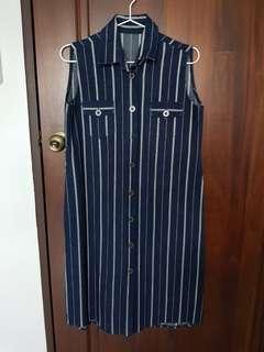 Pinstripe Denim Dress