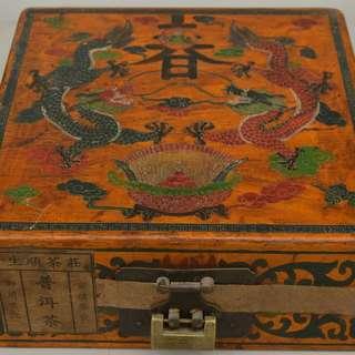 尋古堂◆友人古宅舊藏清代官茶生順茶莊普洱茶龍紋木胎漆器盒密封貢品古茶