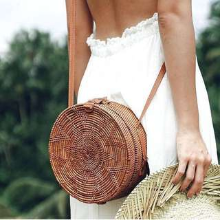 Round Rattan Bag with clip