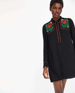 BNWT Zara Shirt Dress With Floral Embroidery