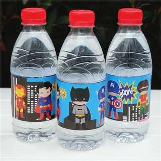 💥 Superheroes Cartoon Justice league avengers party supplies - bottle label / party deco