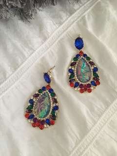 Multicoloured stone earrings