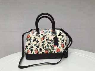 Coach Mini Sierra Satchel with cross stitch floral print - white