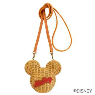 Japan Disney Accommode Mickey Mouse Camel Rattan Pouch Bag