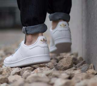 white gold velcro stan smith