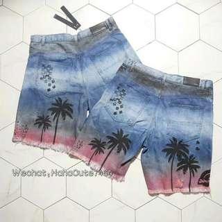 (价格私询)AMIRI 18SS椰树牛仔短裤