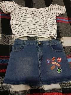 Short jeans skirt