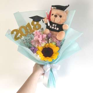 Sunflower Bouquet with Mix flowers and Graduation Bear with Topper