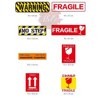 Warning Luggage Sticker • Fragile No Step This Side Up