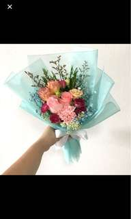 Pink Roses with Eustomas and Mix Fillers in Tiffany Blue Wrapping