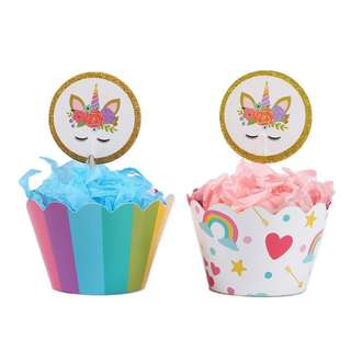 [NEW] 24pcs Unicorn Reversible Cupcake Wrappers Toppers