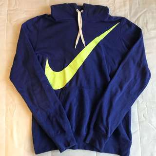 Authentic NIKE purple and neon green hoodie jumper sloppy joe sweater with pocket detail vintage 90's vibe retro
