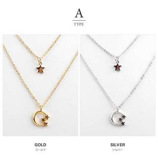 Star & Moon Golden Chain Multi Layer Necklace