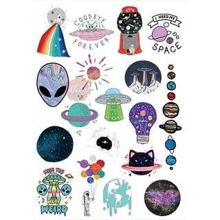 Space Luggage Sticker • Galaxy Alien Space Ship UFO Balloon