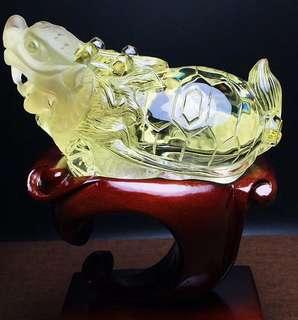 天然黄水晶龙龟摆件