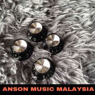 Gibson Style Top Hat Guitar Knobs, Black/Silver, Set of 4