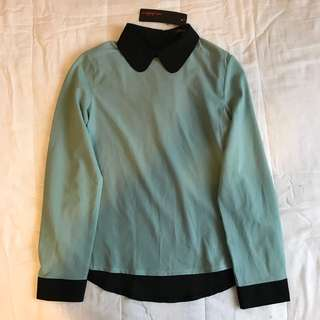 BRAND NEW! cute kawaii black and pastel green blouse top Tshirt formal classic button detail