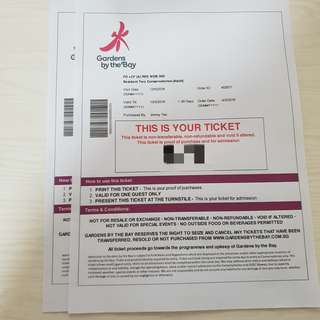 Gardens By the Bay Flower Dome and Cloud Forest 2 tickets