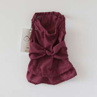 Dog Dress (Maroon with Tie) 100% Cotton
