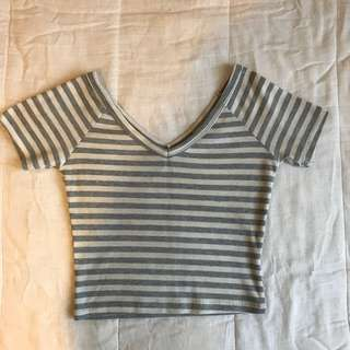 Grey and white stripe V-Neck cute retro style top Tshirt tee