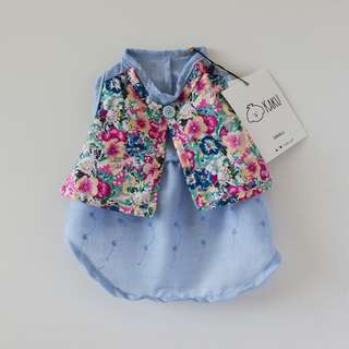 Dog Dress (Blue with Vest) 100% Cotton