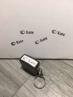 Black Keychain pre-inked cute stamp - custom icon and text