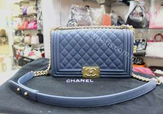 Chanel Blue Caviar Leboy Old Medium Gold Hardware